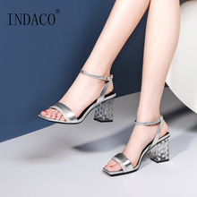 Women Sandals 2019 Leahter Shoes Summer Thick Heel Sandals Bling Ankle Strap High Heels Shoes цены онлайн