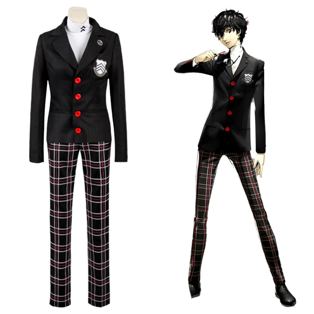 Anime Persona 5 Protagonist Joker Cosplay Costumes Men's Suits School Uniform Christmas Party Halloween Outfit Coat+Pants+T-shir