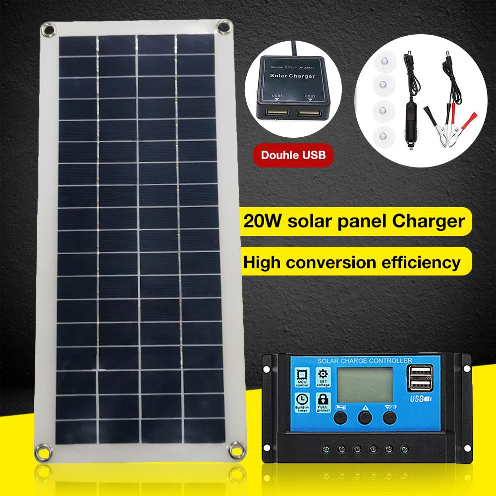 25W Dual USB <font><b>12V</b></font> <font><b>Solar</b></font> <font><b>Panel</b></font> With Car Charger + 10/20/30/40A USB <font><b>Solar</b></font> Charger Controller For Outdoor Camping LED Light image