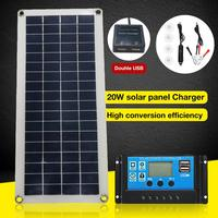 25W Dual USB 12V Solar Panel With Car Charger + 10/20/30/40A USB Solar Charger Controller For Outdoor Camping LED Light
