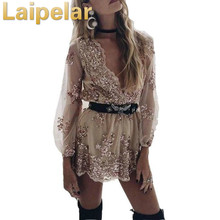 Laipelar Autumn V neck Jumpsuits Overalls for women V neck Sequin Playsuits Boho Mesh Playsuit Bodysuit Rompers yellow folk v neck convertible playsuit