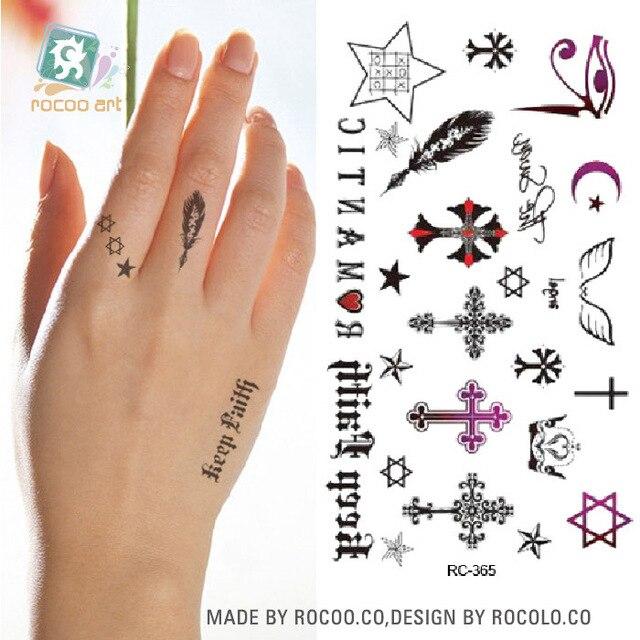 Wodoodporna Tymczasowe Tattoo Naklejka Na Body Art Mały Krzyż Palec