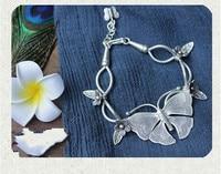 Дизайн тайском стиле ручной строка s990 чистого серебра серебро браслет с бабочкой послал подруга Ретро Личность