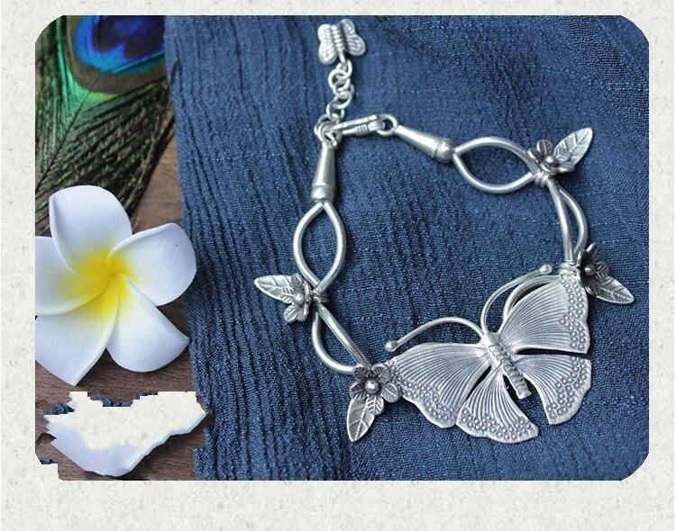 Design Thai style manuel main chaîne s990 argent fin bracelet papillon envoyé petite amie rétro personnalité