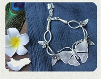 design Thai style manual hand string s990 fine silver silver butterfly bracelet sent girlfriend retro personality