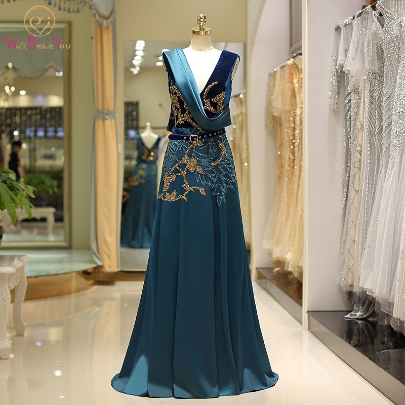 Green Evening Dress 2019 New Elegant V-neck Velour Top Beading Satin Bottom 100% Real Pics A-line Vintage Hot Sale Prom Gown