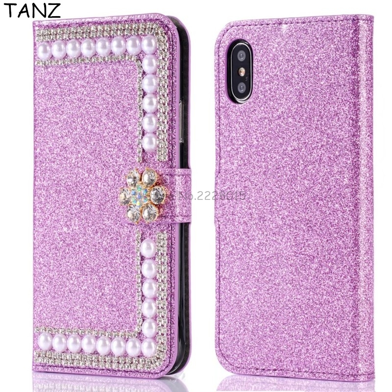 TANZ Bling Diamond Pearl Wallet Stand Flip Leather Case for iPhone X 5 5S SE 6 7 6S 7 plus Phone Cover Elegant Full Protective
