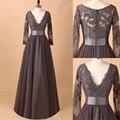 Magia Noiva Brown Mangas Compridas Mãe Dos Vestidos de Noiva Mais tamanho Vestidos de Casamento Vestido de Noite Para a Mãe Da Noiva 2016