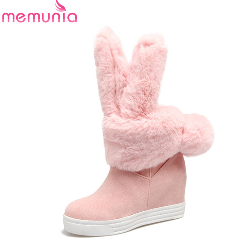 MEMUNIA 2018 newest sweet winter snow boots women slip on keep warm ankle boots round toe fashion comfortable ladies shoes 2015 new arrival fashion women winter snow boots warm ladies shoes bowtie slip on soft cute shoes purple color sweet boots