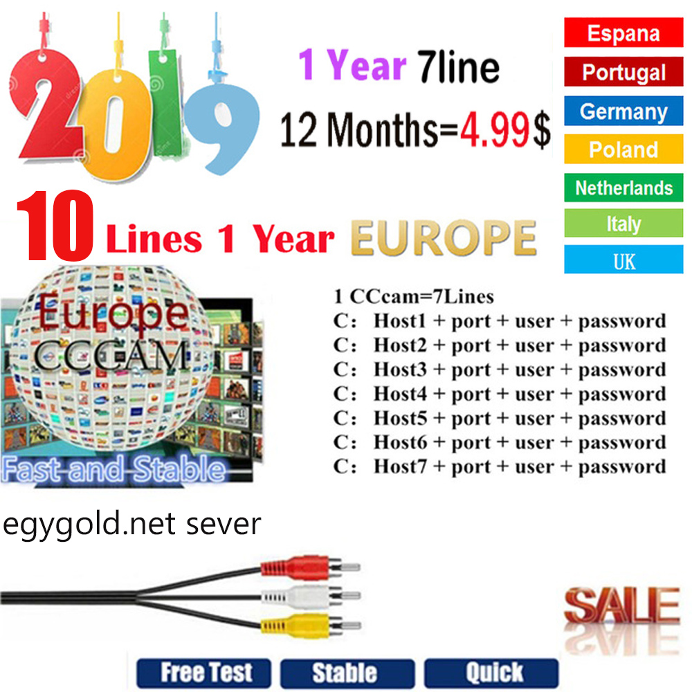 Spain Receptor Cccam Cline For 1 Year Europe DVB-S2 CCcam Lines Satellite Receiver Ge Many Oscam Mgcam Egygold 7 Line For V7 V8