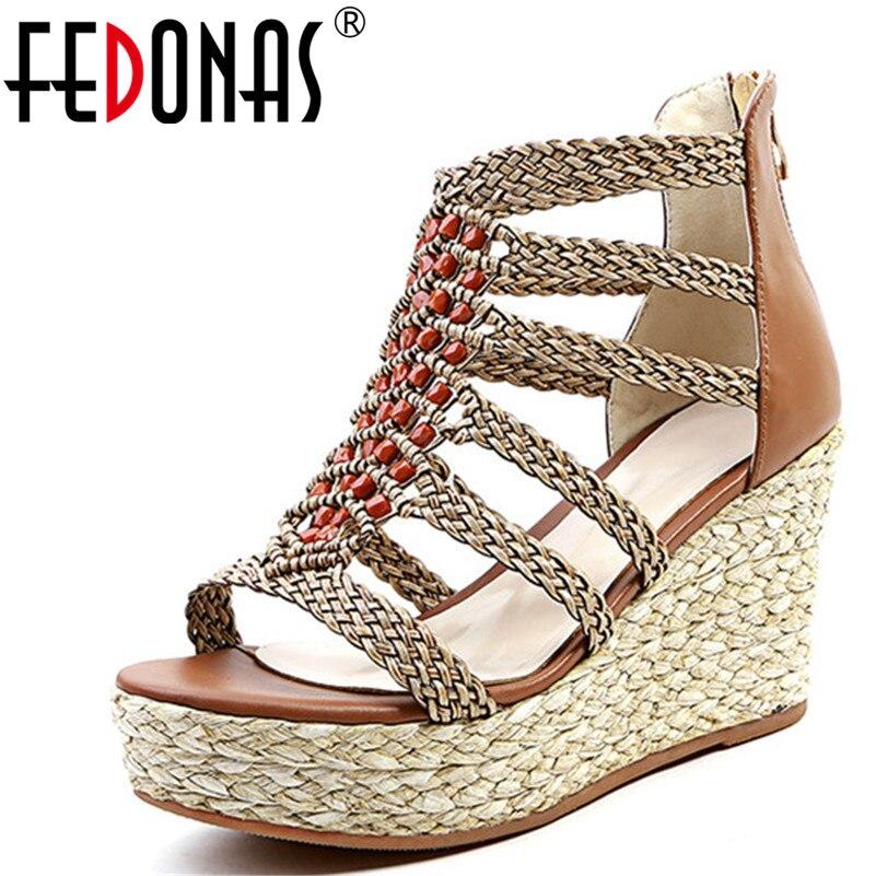 FEDONAS السيدات الأزياء والأحذية النساء الصنادل الصيف بوهيميا نمط حذاء كاجوال سوبر أسافين الكعب منصات أحذية امرأة-في كعب عالي من أحذية على  مجموعة 1