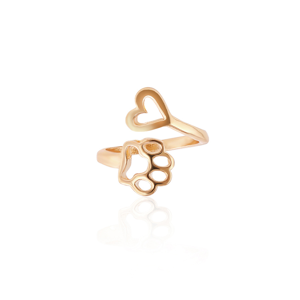 2017 New Fashion Women Girl Cute Simple Metal Love Heart Cat Dog Foot Open Adjustable Rings Animal Style Hollow Paw Ring Jewelry 3