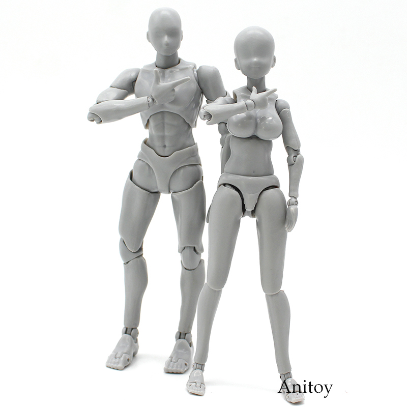Anime SHFiguarts BODY KUN / CHAN DX SET Gray Color Ver. PVC Action Figure Collectible Model Toy 14cm 2 Styles 8style archetype he archetype she ferrite shfiguarts body kun body chan ver pvc action figure collectible model toy with box
