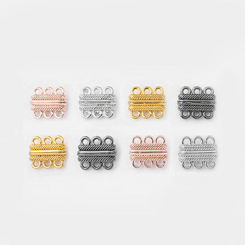 5pcs 2 Row 3 Holes Magnetic Clasp For Bracelet Necklace End Connector Jewelry Findings