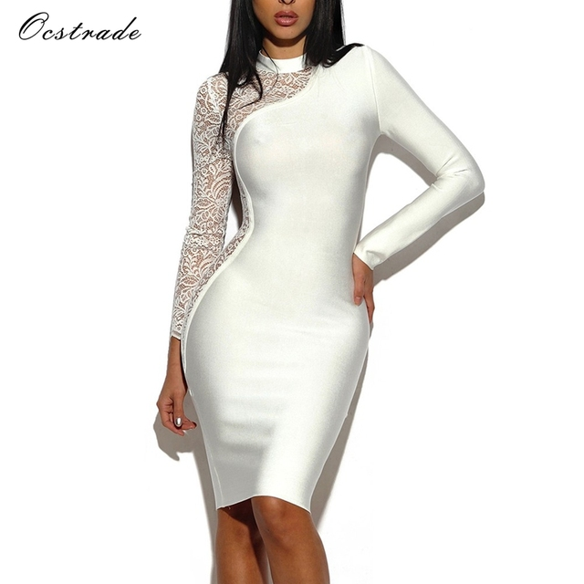 6fc7d6b26cda3 Ocstrade Lace Long Sleeve Bodycon Dress Women New Arrivals 2017 Rayon High  Quality White Bandage Dress for Women