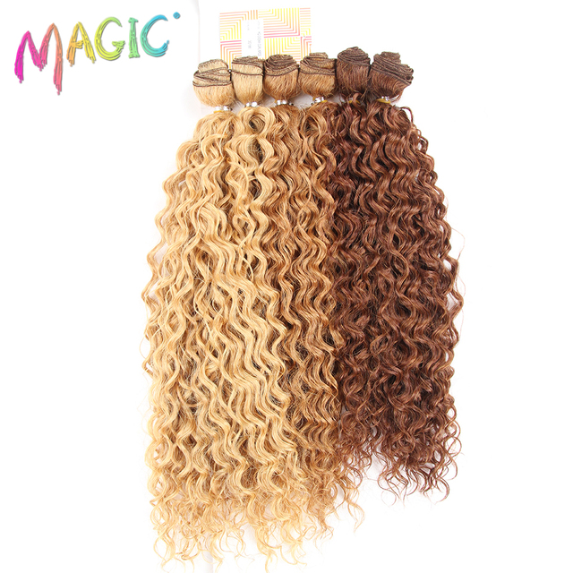 Magic 20 24inch 6pcspack Black Ombre Synthetic Hair Weaving Kinky