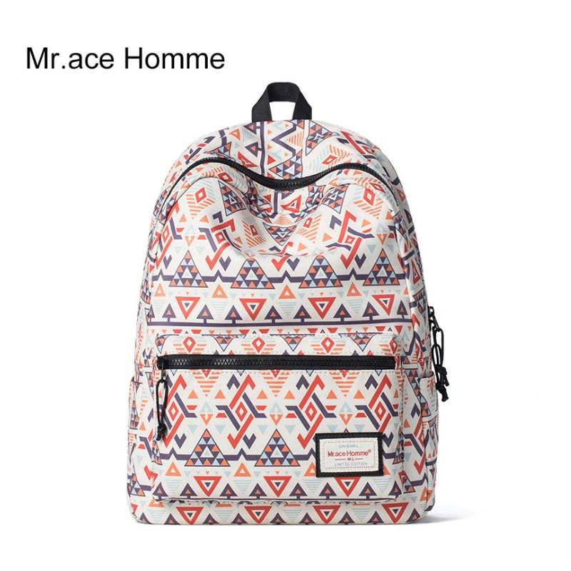 Mr .Ace Homme Printing Backpack Women Kroean Style Preppy Travel Backpacks School Bags for Teenagers Girls Men MR16A0204Y 2017 new fashion backpacks men travel backpack women school bags for teenagers girls pu leather preppy style backpack
