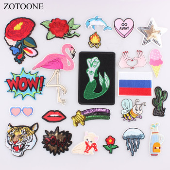 ZOTOONE 1PC Flamingo Flower Cat Letter Patch for Clothing Stripes On Clothes Iron On Patches Embroidery Applique DIY Stickers A image