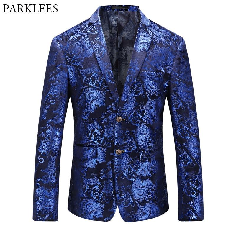Mens Royal Blue Luxury Blazer Jacket 2018 Brand New Paisley Floral Bronzing Suit Blazer Men Party Festival Wedding Blazer Hombre