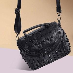 Image 5 - Fashion Women Messenger Bags Black Rivet Genuine Leather Shoulder Bag Sac a Main Crossbody Bags For Women Designer Handbags