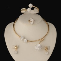 2016 HOT dubai Filled Women Party Jewelry Set Women Wedding Necklace Bracelet Earring Ring African Beads Jewelry Set