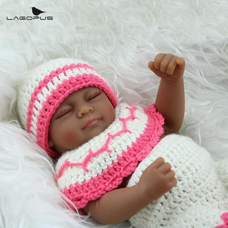 African American Cute Reborn Baby Dolls Silicone 10 Inch