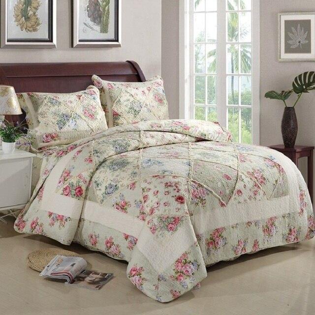 Chausub Cotton Patchwork Quilt Set 3pcs4pcs Korean Floral Bedspread