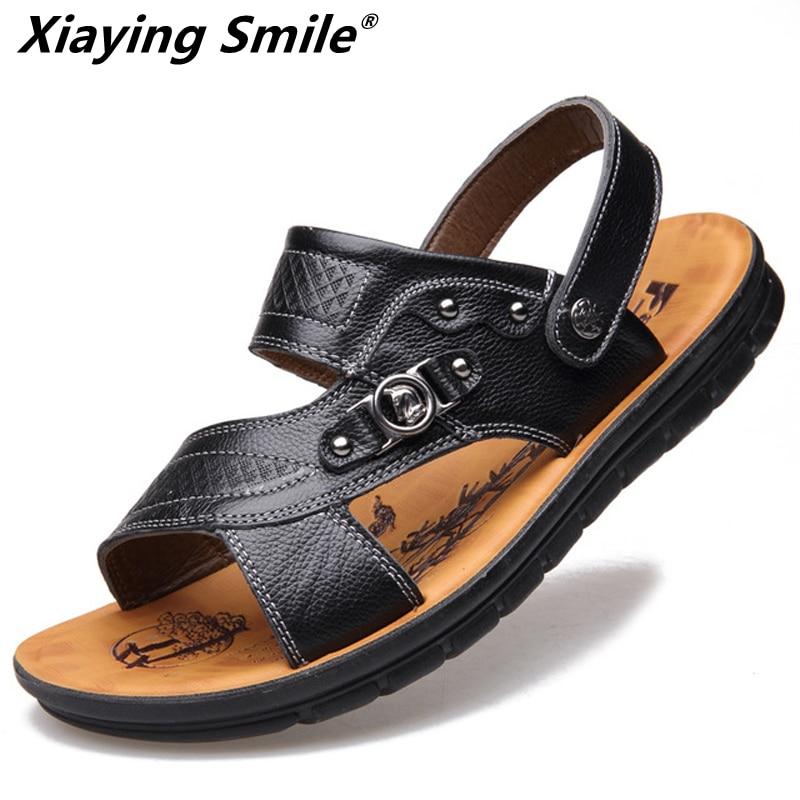 Sandale za moške usnjene kakovostne spodnje čevlje pristne 2018 - Moški čevlji