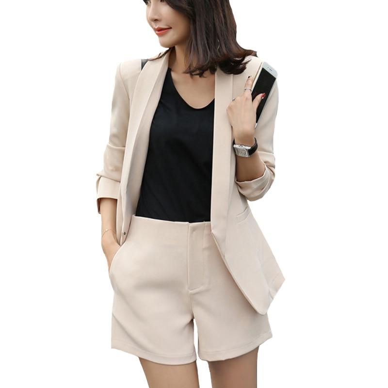 5c56c3e66 Women Office Lady Khaki Solid Short Pant Suits 2 Two Piece set ...