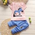Liquidación de primavera modelos Muchachas de los sistemas del algodón T-shirt + pants 2 unids Verano tops ropa de los niños al por mayor 1-2-3-3.5 años de edad