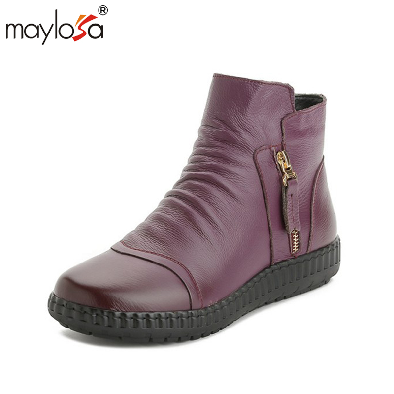 MAYLOSA Fashion women's genuine leather ankle flat boots Casual Comfortable Warm Woman Snow Boots Lady soft Flat shoes maylosa summer spring women boots with hole genuine leather feminina casual boots good quality handmade casual lady shoes