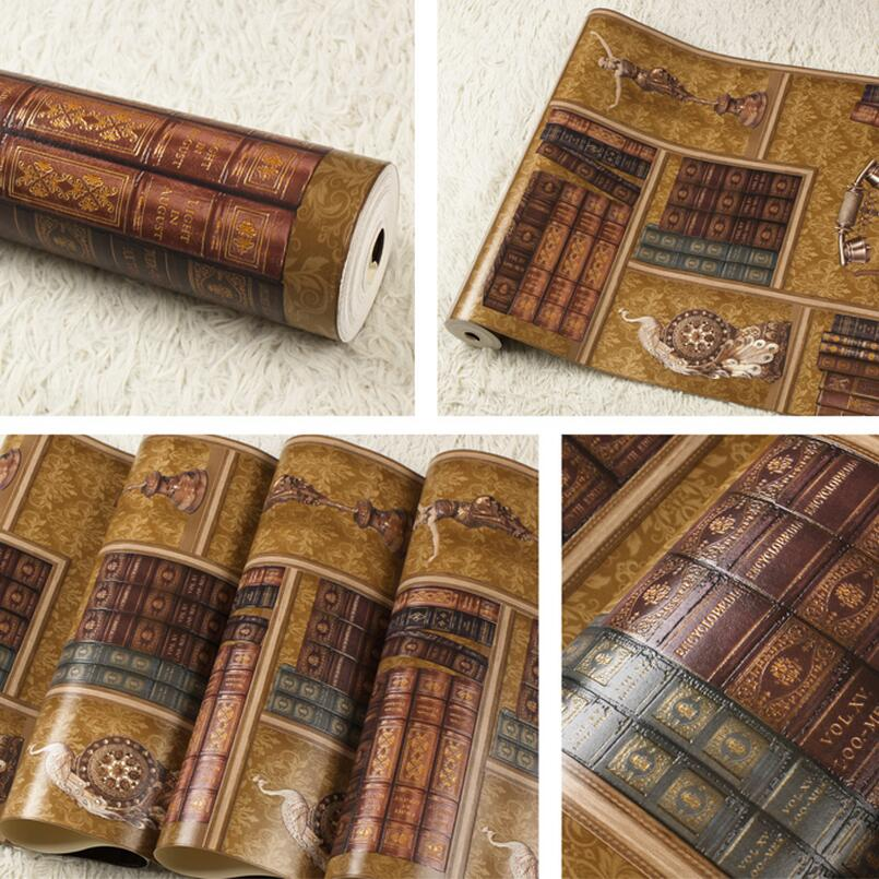 3d bookshelf american vintage non-woven wallpaper chinese vintage style wallpaper