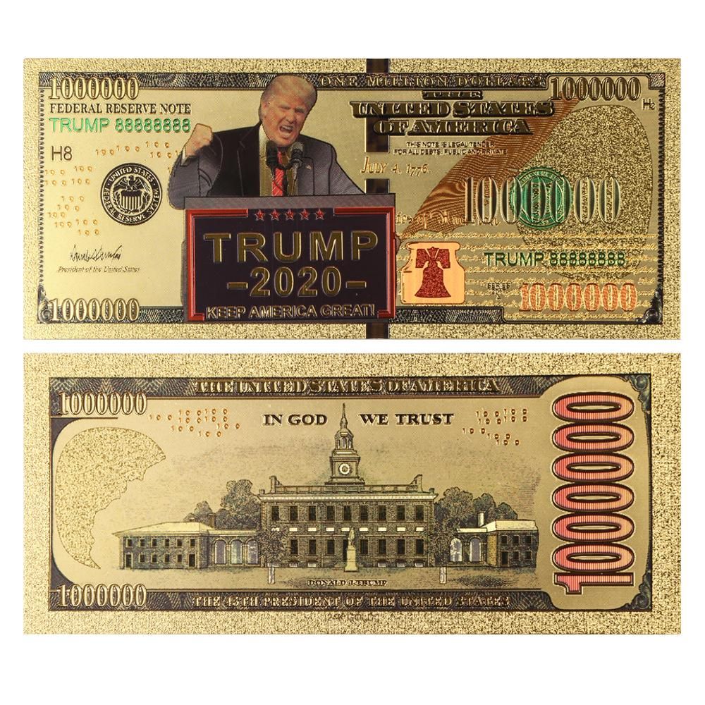 10pcs 2020 US Donald Trump Commemorative Coin President Banknote Non-currency 1 Million Dollar Gold Foil Bill Collections Gift A