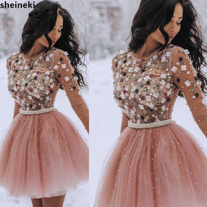 2019 Short Prom Dresses Pearls Beaded Handmade Flower Long Sleeves Prom Dresses Cocktail Dress(China)