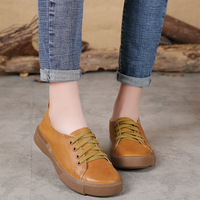 Spring Casual Ladies Shoes Size Handmade Wedges Women Round Toe Lace Shoes Genuine Leather Shoes Women