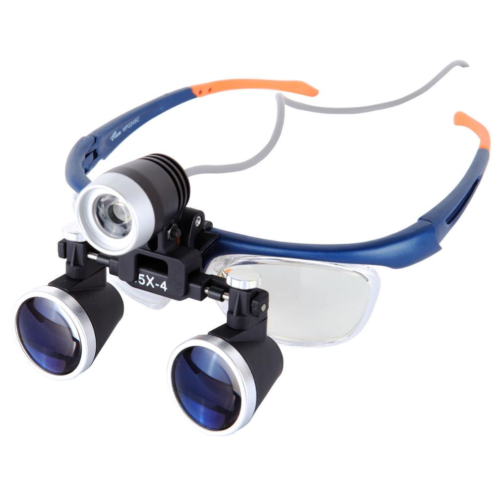 Loupe chirurgicale médicale 3.5X-4 avec phare de chirurgie dentaire 3 W