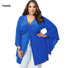 TUHAO 2018 Spring Summer Plus Size 4XL 3XL Blouse Sexy Batwing Sleeve Long High Street Women's Blouse Office Lady Shirts LM09