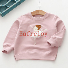 Girls T-Shirt Embroidery Fleece Autumn Baby Girls Full T-Shirt 3D Print Dance Ballet Girl Shirts Children Clothing Blouse G251