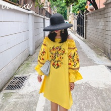 Ubei 2019 New national style lantern sleeve embroidered dress slash neck two wear resort women bohemian beach