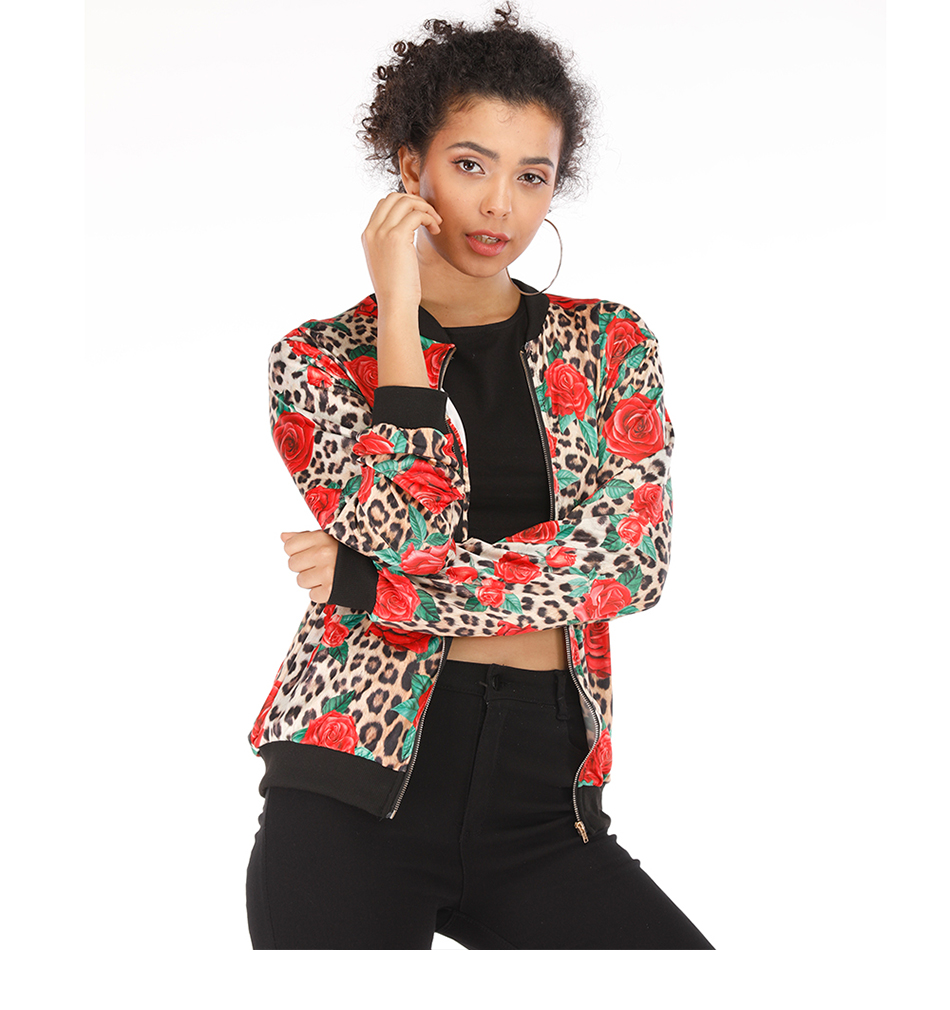 Rose Leopard Spring Women's Jackets Plus Size Short Female Coat Zipper Chaqueta Long Sleeve Polka Dot Women Bomber Jacket 5