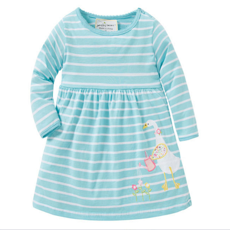 Jumping meters new striped spring autumn dresses baby girls hot selling cartoon dress with applique a cute duck top quality 2018 jumping meters top brand dresses girls baby new clothing cotton striped applique animals princess autumn spring kids dress girl