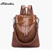 e215c585d Aidoudou جديد ماركة النساء حقائب عالية الجودة لينة بو الجلود حقائب السيدات  الكتف حقيبة مدرسية mochila. 2 اللون