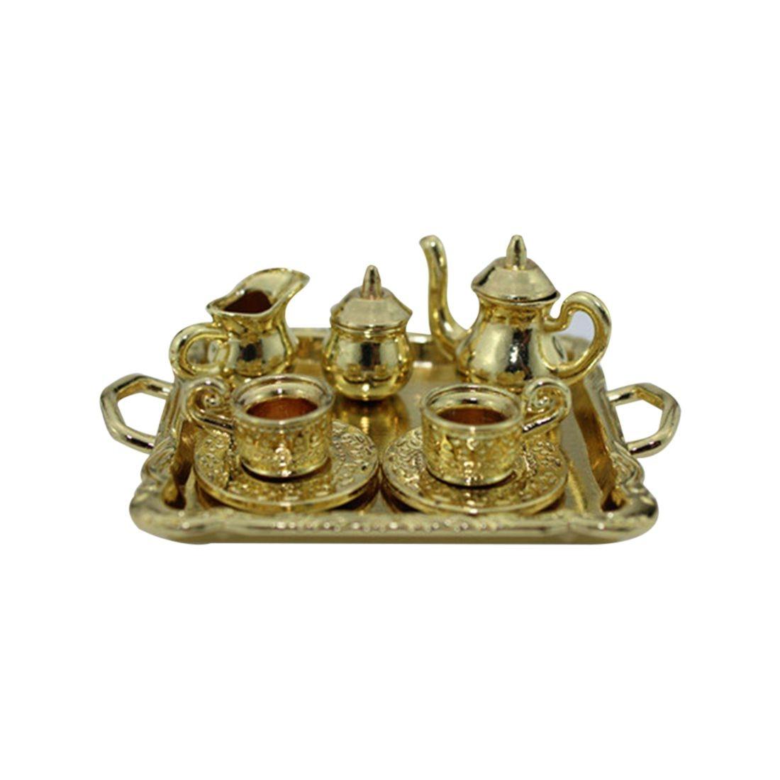 LCLL-Dollhouse Miniature 1: 12 Toy 8 Pcs Metal Tea Set Length 6.5cm