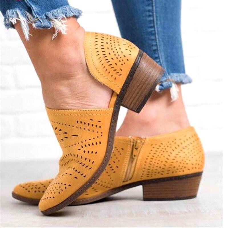 EOEODOIT Fretwork Bottes Femmes Printemps Été Faible talon chunky Bout Pointu Côté Zip Pompes Courtes chaussures cheville Évider Rétro Sandale