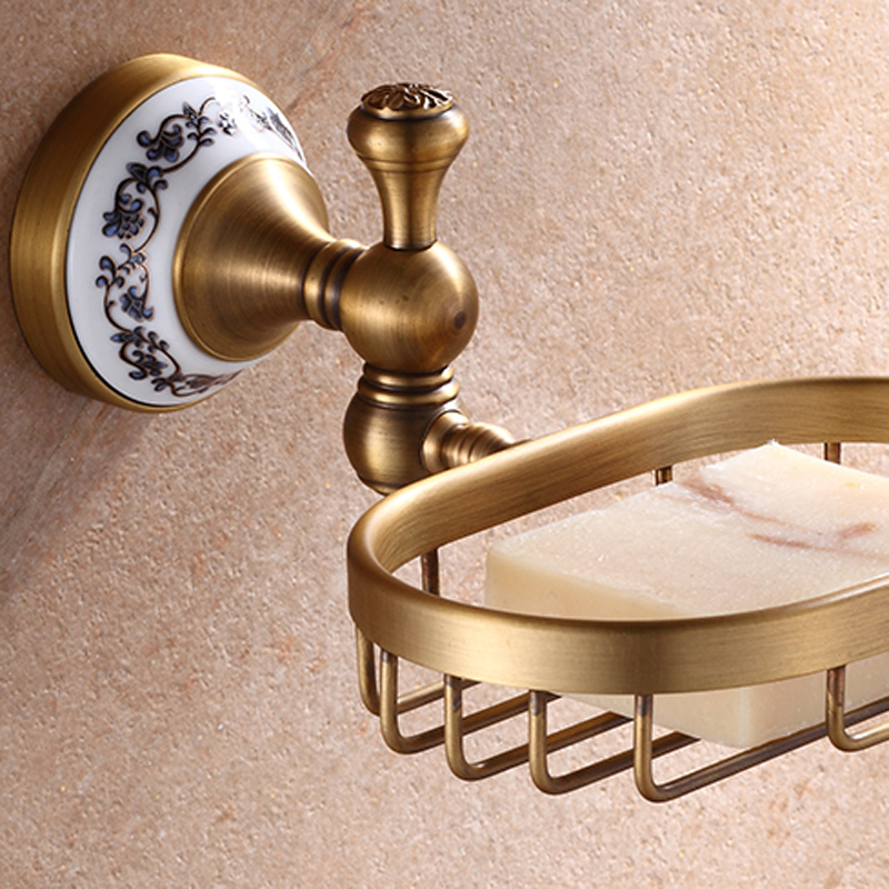 Wall Mounted Bathroom Bath Hardware Sets Antique Brass Towel Bar