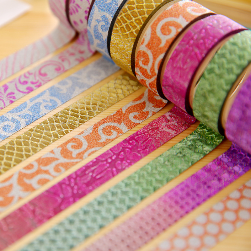 10 pcs/Lot Candy color Glitter masking tapes Gold paper Decorative adhesive tape 15mm*3m sticker Stationery School supplies 6141