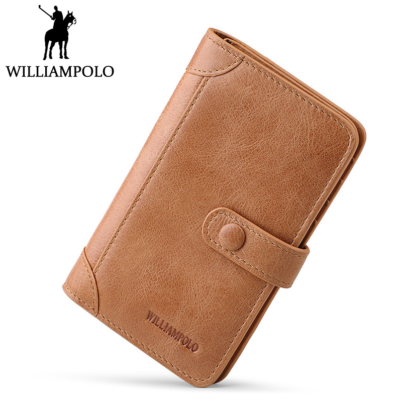 WILLIAMPOLO Mens Credit Card Holder Genuine Leather ID Card Case Black Purse Mini Card Wallet Men Businessman's Gift Holder вытяжка каминная gorenje dk63cli бежевый