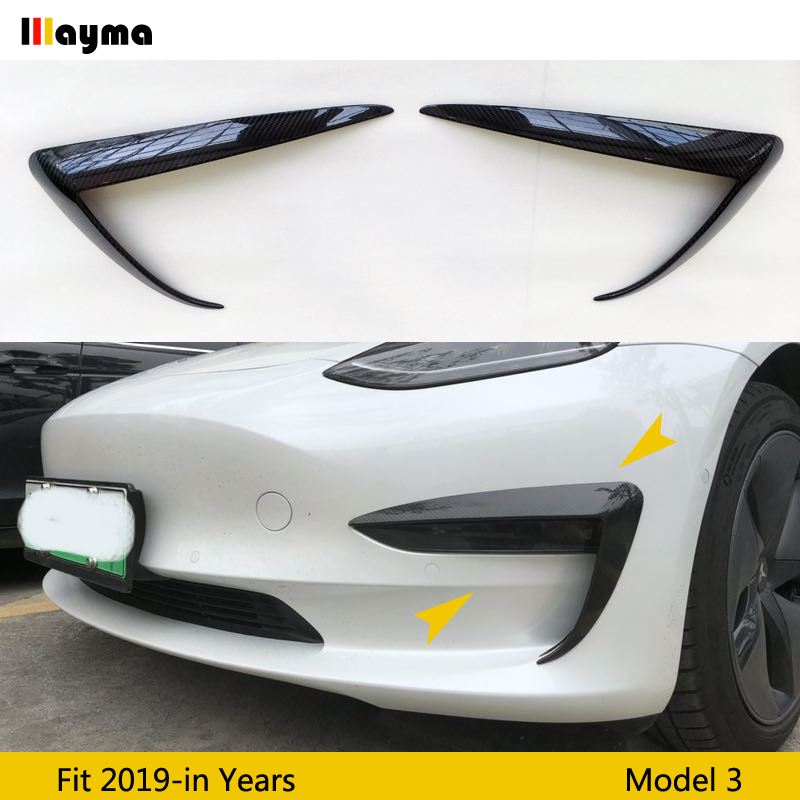 Couteau à Air de pare-chocs avant en fibre de carbone de style Sport pour Tesla modèle 3 2017 2018 2019 an modèle 3 antibrouillard avant décoratif 1 paire