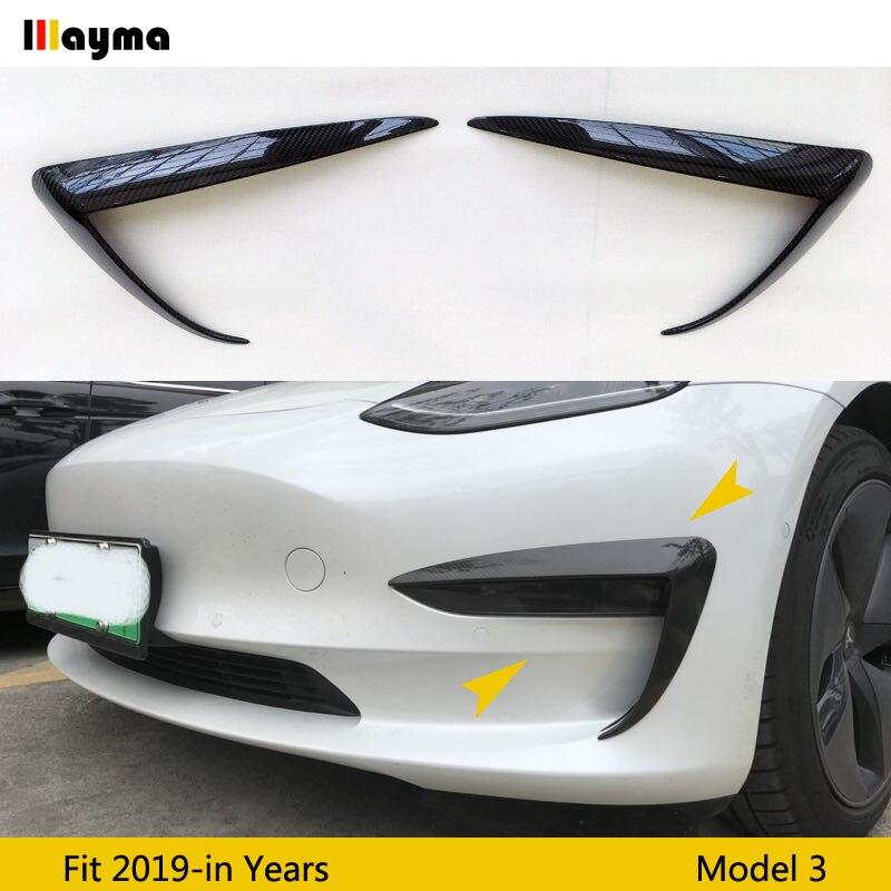 Esporte estilo fibra De Carbono do amortecedor Dianteiro de faca de Ar Para Tesla Model 3 2017 2018 2019 ano modelo 3 Frente nevoeiro luzes decorativas 1 par