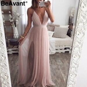 Image 2 - BeAvant אלגנטי ורוד קיץ תחרה שמלת נשים ערב סקסי מועדון מסיבת שמלות גבירותיי V צוואר גבוה מותן mesh שמלת חלוק femme 2020